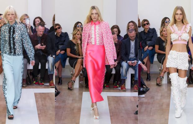 Three looks from Ungaro's spring 2016 collection. Photos: Imaxtree