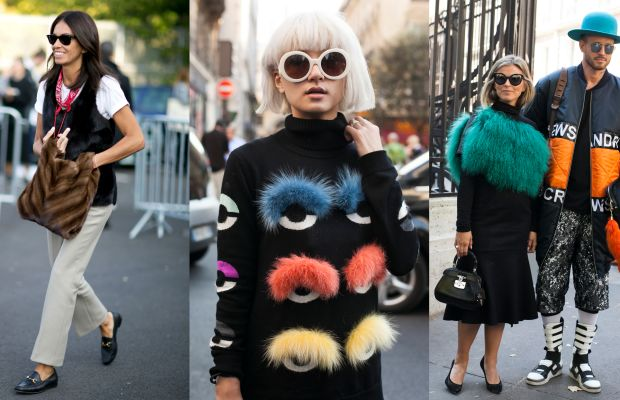 Furry friends on the streets of Paris. Photos: Imaxtree (left), Emily Malan/Fashionista (center and right)