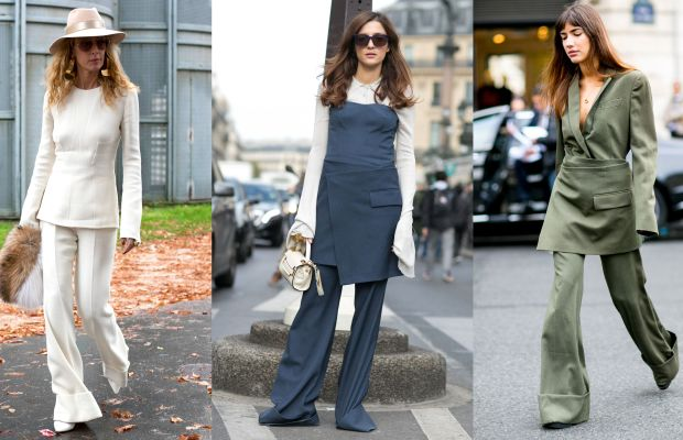 Suited up on the streets of Paris. Photos: Photo: Emily Malan/Fashionista (left), Imaxtree (center and right)