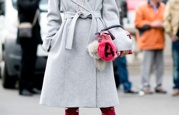 Anna Dello Russo in Stella McCartney coat, Dior boots, Loewe bag and Fendi charm. Photo: Imaxtree