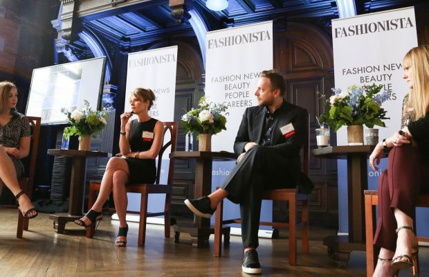 Lauren Indvik, Fashionista's editor-in-chief, interviews panelists Robie Myers, Ariel Foxman and Amy Astley at FashionistaCON 2014 in NYC.