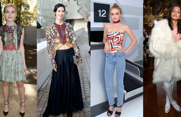 From left to right: Kiernan Shipka at Valentino, Tao Okamoto at Louis Vuitton, Lily-Rose Depp at Chanel, and M.I.A. at Stella McCartney. Photos: Getty Images