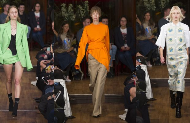 Three looks from Vetements's most recent ready-to-wear collection. Photos: Imaxtree