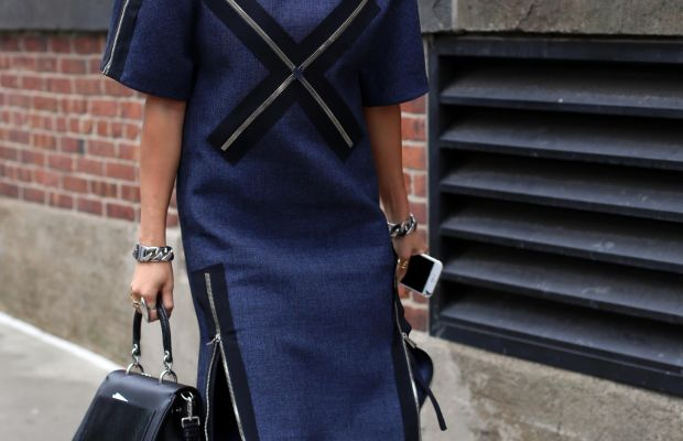 Stylist/blogger Tina Leung at New York Fashion Week in a Balenciaga dress, Dior bag and Giuseppe Zanotti shoes. Photo: Angela Datre/Fashionista