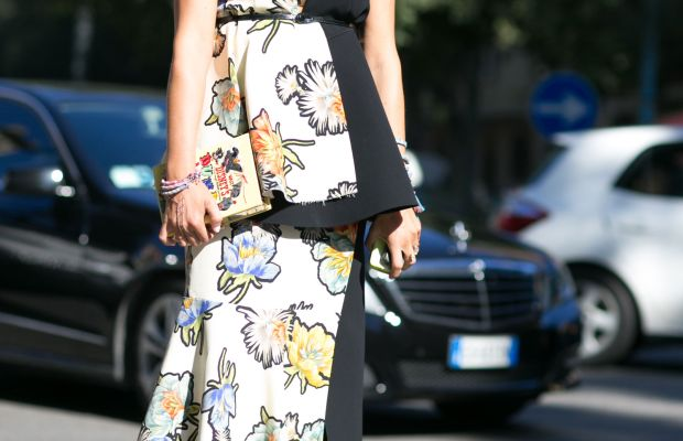 Stylist Elisa Nalin in Sportmax at Milan Fashion Week. Photo: Imaxtree