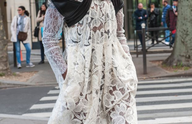 Designer Michelle Elie in a Tome dress and Comme des Garcons at Paris Fashion Week. Photo: Imaxtree