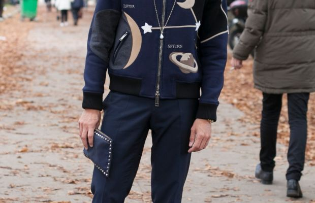 La Repubblica Fashion Editor Simone Marchetti at Paris Fashion Week in Valentino. Photo: Emily Malan/Fashionista