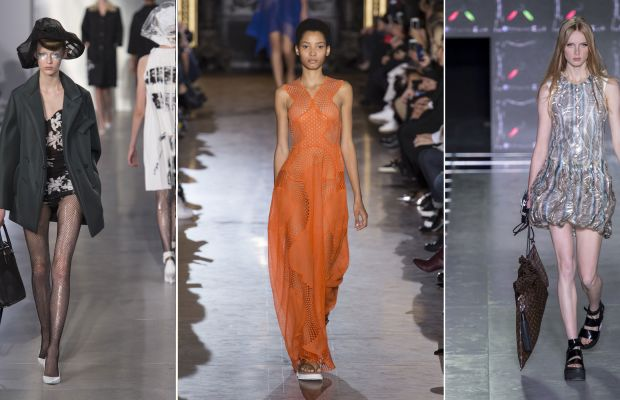 Looks from the spring 2016 collections of Maison Margiela, Stella McCartney and Louis Vuitton. Photos: Imaxtree