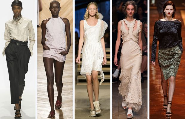 From left to right: Margaret Howell, Bottega Veneta, Givenchy, Alexander McQueen, and Nina Ricci