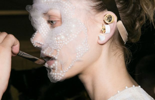 The face mask beauty look at Givenchy. Photo: Imaxtree