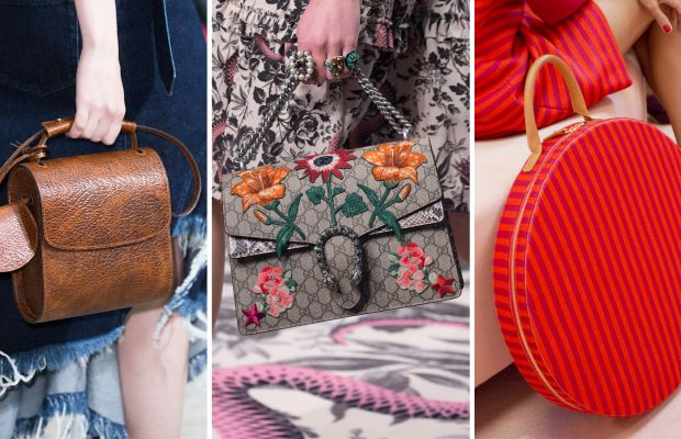 Bags from the Marques'Almeida, Gucci and Mansur Gavriel spring 2016 collections. Photos: Imaxtree (left and center) and Mansur Gavriel