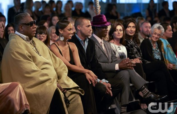 """Andrew Leon Talley, Tyra Banks, Nigel Barker and J. Alexander watch an Anna Sui runway show featuring contestants on the final episode of """"America's Next Top Model"""" cycle 14. Photo: Martina Monica Tolot/The CW"""