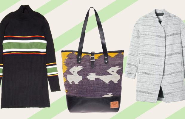 Suno turtleneck, now $446.25 with code SUNOFRIENDS, available at Suno; Dhurrie tote, now $247.50, available at Will Leather Goods; Rebecca Taylor cocoon coat, now $596.25 with code RTFRIEND15, available at Rebecca Taylor.