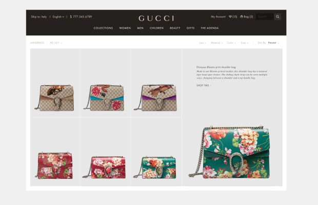 A product page for the Dionysus Blooms print shoulder bag. Screengrab: Gucci