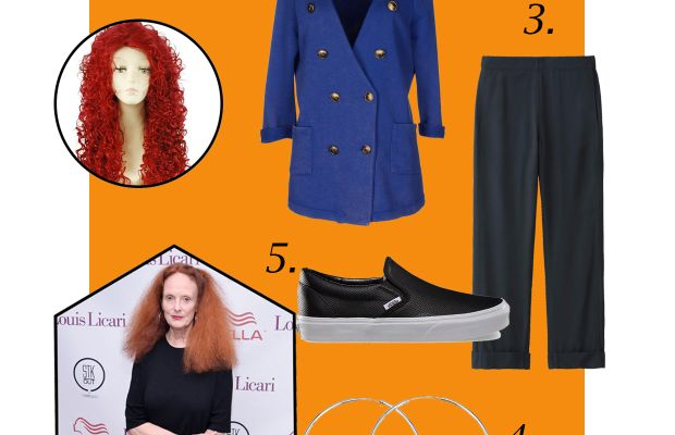 1. Nouqi party wig, $33.24, available at Amazon; 2. 5Preview blazer, $53, available at Yoox; 3. Lemaire rayon wide-leg pants, $49.90, available at Uniqlo; 4. Silver hoop earrings, $2, available at Florence Scovel; 5. Vans pert leather slip-on, $60, available at Vans. Photo: Grant Lamos IV/Getty Images