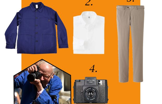 1. Le Labourer French work jacket, $150, available at Hickoree's; 2. Men's oxford shirt, $39.90, available at Uniqlo; 3. Uniqlo slim fit chino flat front pants, $29.90, available at Uniqlo; 4. Holga 120n medium format film camera, $34.99, available at B&H Photo.Photo: Mike Coppola/Getty Images