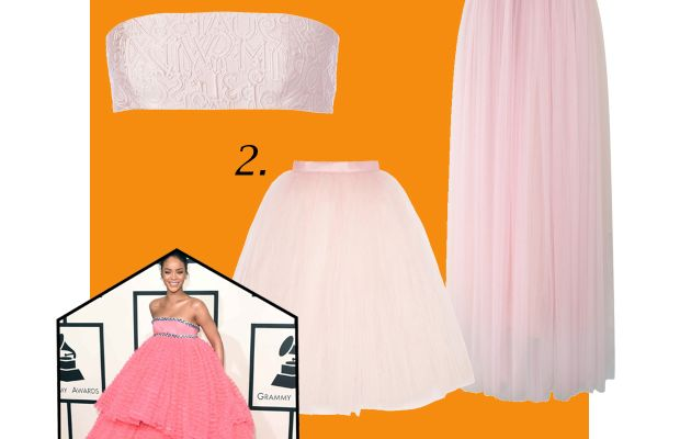 1. Mary Katrantzou bandeau, now $198.20, available at Farfetch; 2. Ballet Beautiful Tulle skirt, $165, available at Net-a-Porter; 3. Amore Maxi Tulle Prom Skirt in Pink, now $59.42, available at Chic Wish; 4. Doll Candy tulle petticoat (not pictured), $3.95, available at Etsy. Photo: Jason Merritt/Getty Images