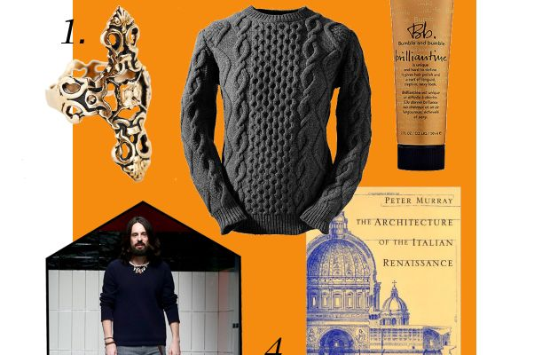 """1. Souvenir Jewelry Obelisk ring, $40, available at Urban Outfitters; 2. Aran Cabled Sweater Fisherman sweater, $195.95, available at Aran Cabled Sweater; 3. Bumble and bumble brilliantine, $24, available at Sephora; 4. """"Architecture of the Italian Renaissance,"""" $8.95, available at Amazon. Photo: Vittorio Zunino Celotto/Getty Images"""