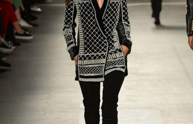 Alessandra Ambrosio walks the runway at the Balmain x H&M show on Tuesday night. Photo: H&M