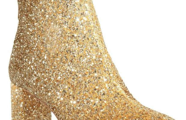 Kate Spade New York glitter mid-heel booties, $398, available at Bloomingdale's.