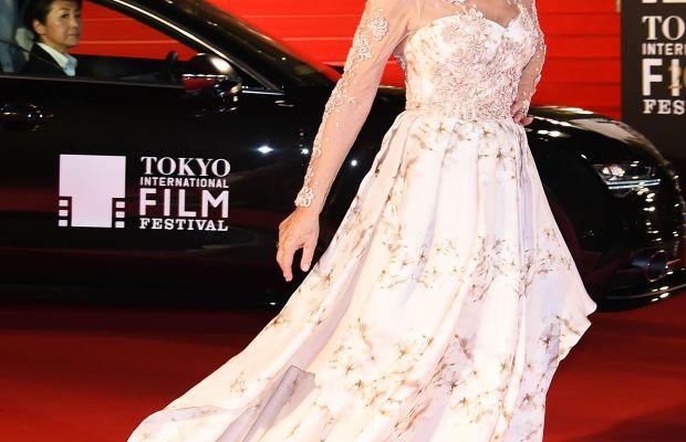Helen Mirren in Badgley Mischka at the opening ceremony of the 2015 Tokyo International Film Festival on Thursday. Photo: Jun Sato/WireImage