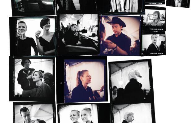 Backstage Calvin Klein Fashion Show, 1995: Dick Page, Emma Balfour, Linda Evangelista, Amber Valletta, Calvin Klein, Shalom Harlow, Kristen McMenamy, Carolyn Murphy, Gisele Bündchen, Kirsty Hume, Nadja Auermann, Tatiana Patitz, Guinevere Van Seenus, Kate Moss, Carolyn Bessette-Kennedy, Marci Klein.