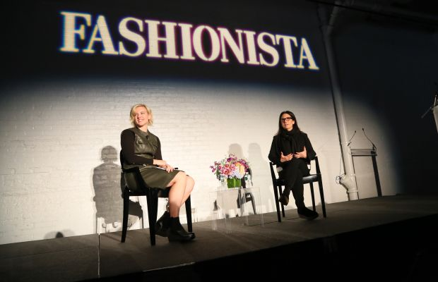 """Fashionista Beauty Editor at Large Cheryl Wischhover with Bobbi Brown at Fashionista's 2015 """"How to Make It in Fashion"""" conference in New York City. Photo: Fashionista"""