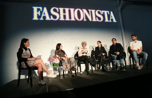 """Fashionista's Chantal Fernandez moderates a panel of five online editors at our 2015 """"How to Make It in Fashion"""" conference in New York City. Photo: Fashionista"""