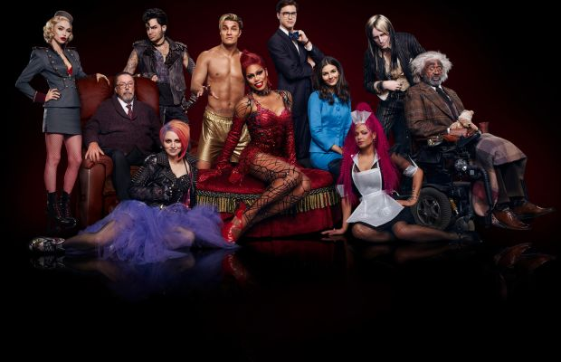 L-R: Annaleigh Ashford, Ivy Levan, Tim Curry, Reeve Carney, Christina Milian, Laverne Cox, Staz Nair, Victoria Justice, Ryan McCartan, Adam Lambert and Ben Vereen in 'Rocky Horror Picture Show: Let's Do the Time Warp Again.' Photo: Miranda Penn Turin/FOX
