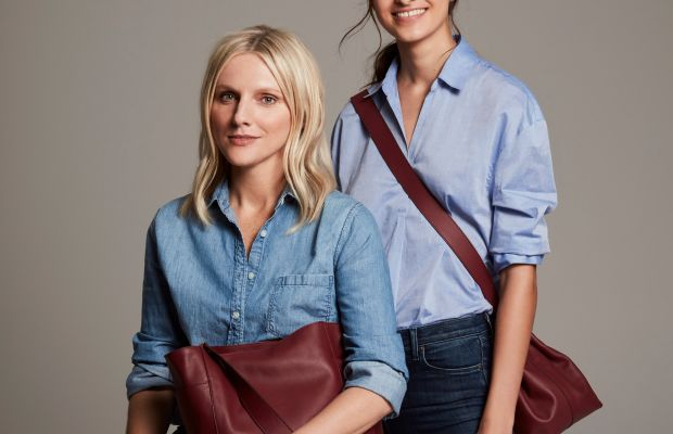 Laura Brown and a model carry pieces from the Laura Brown x Mon Purse collection. Photo: courtesy