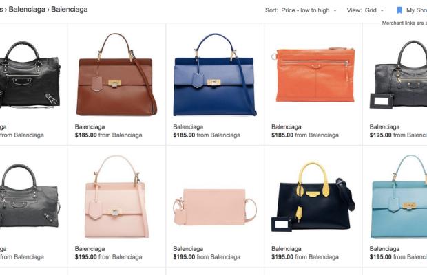 The mispriced Balenciaga bags can still be seen on Google Shopping. Screengrab: Google