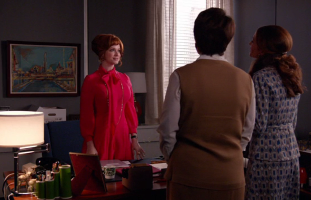 Joan meets some new female colleagues. Screengrab: AMC