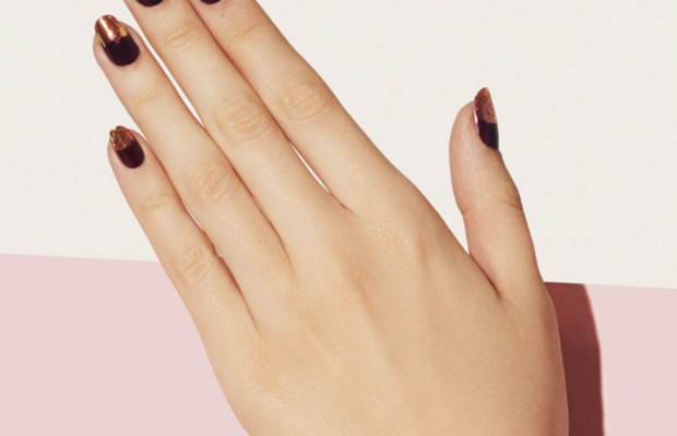 A manicure featuring copper foil on the tips. Photo: Paintbox Instagram