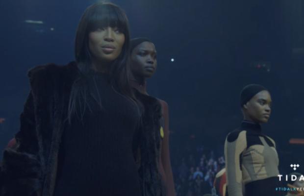 Naomi Campbell at the Yeezy Season 3 show. Screengrab: Tidal