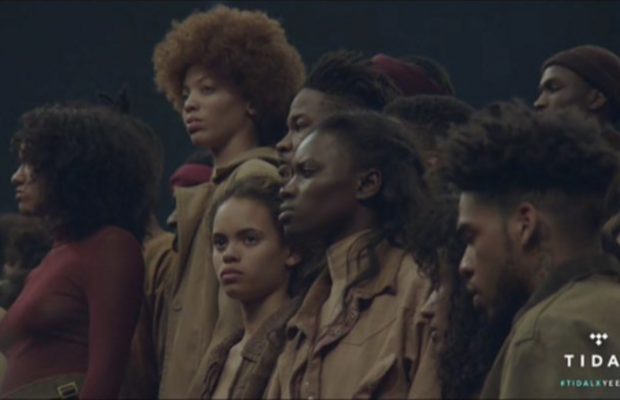 Ashley B. Chew modeling at the Yeezy Season 3 show, second from the left. Screengrab: Tidal