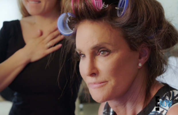 Caitlyn Jenner gets her hair and makeup done before her mother sees her as Caitlyn for the first time. Screengrab: E!