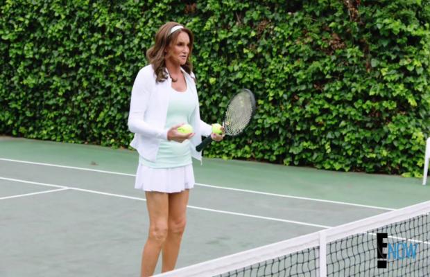 Jenner plays tennis in full hair and makeup. Screengrab: E!