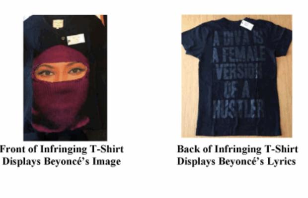 Eleven Paris item featuring Beyoncé's image and lyrics. Photo: Official case documents