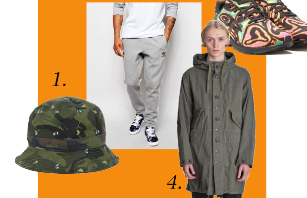 1. Trout bucket hat, $5, available at Lids; 2. Adidas Originals trackpants with panels, $73, available at Asos; 3. Jeremy Scott for Adidas sneakers, € 169, available at Allike; 4. Highland Park Olive Engineered Garments, $640, available at Tres Bien.