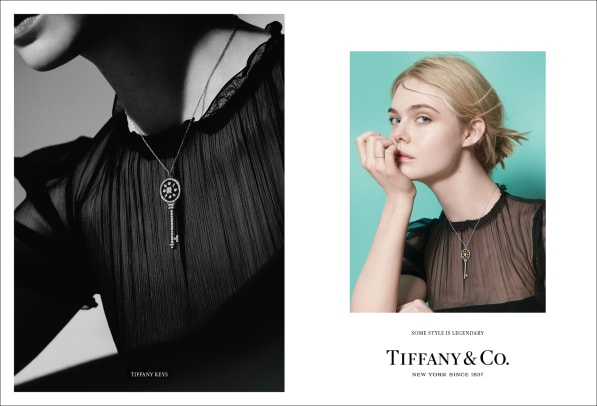 Actress Elle Fanning wears a Tiffany Keys pendant and a Tiffany Metro ri....jpg