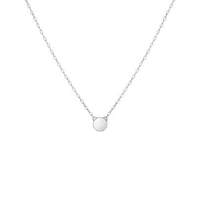 14K White Gold - Mini STOP Pendant Necklace - 3.18