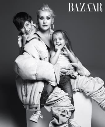 Harper's BAZAAR ICONS - Christina Aguilera & kids