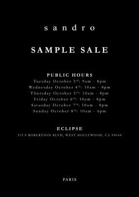 Sandro Sample Sale Fall Evite Public