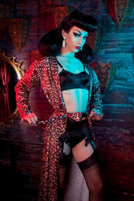 BP Leopard robe and black bullet bra