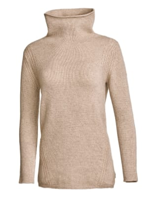 White + Warren Reclaimed Cashmere Funnelneck - Oatmeal Heather - $405