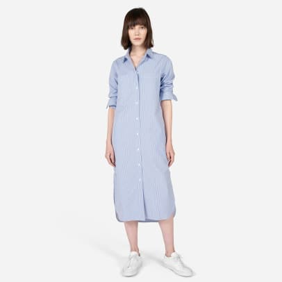 everlane blue shirt dress