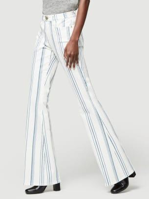 frame bell bottom striped jeans