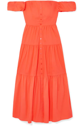 staud elio orange dress