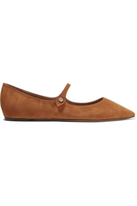 Tabitha Simmons Hermione Flat in Brown Suede