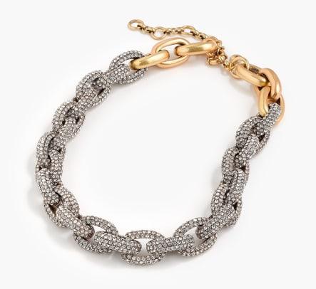 jcrew pave crystal link necklace